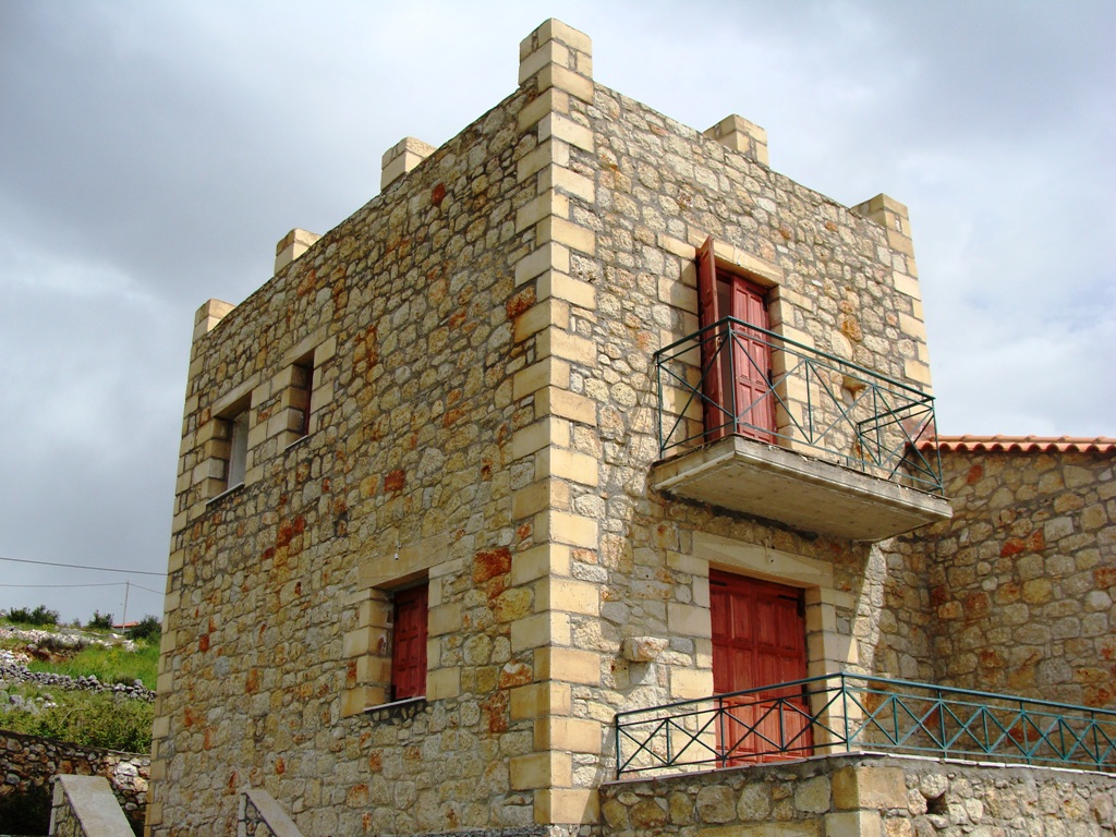 The property sits on a plot measuring 309.24 m2 with west facing sea views.\n	A 2 storey Tower House, semi detached stone villa has been constructed encompassing the traditional architecture of Mani.